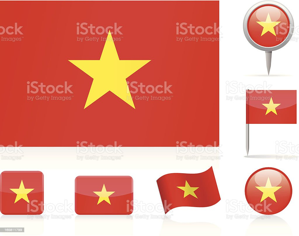 Flags of Vietnam - icon set royalty-free stock vector art