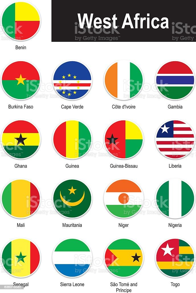 flags of West Africa vector art illustration