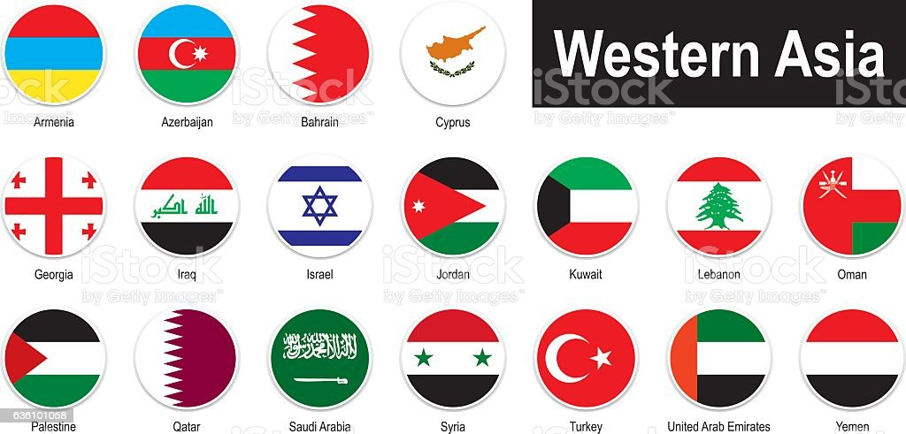 flags of Western Asia vector art illustration