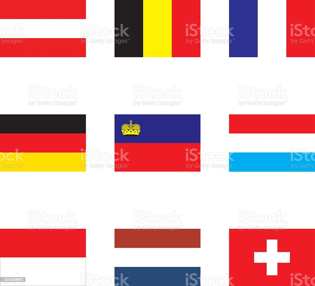 flags of Western Europe vector art illustration