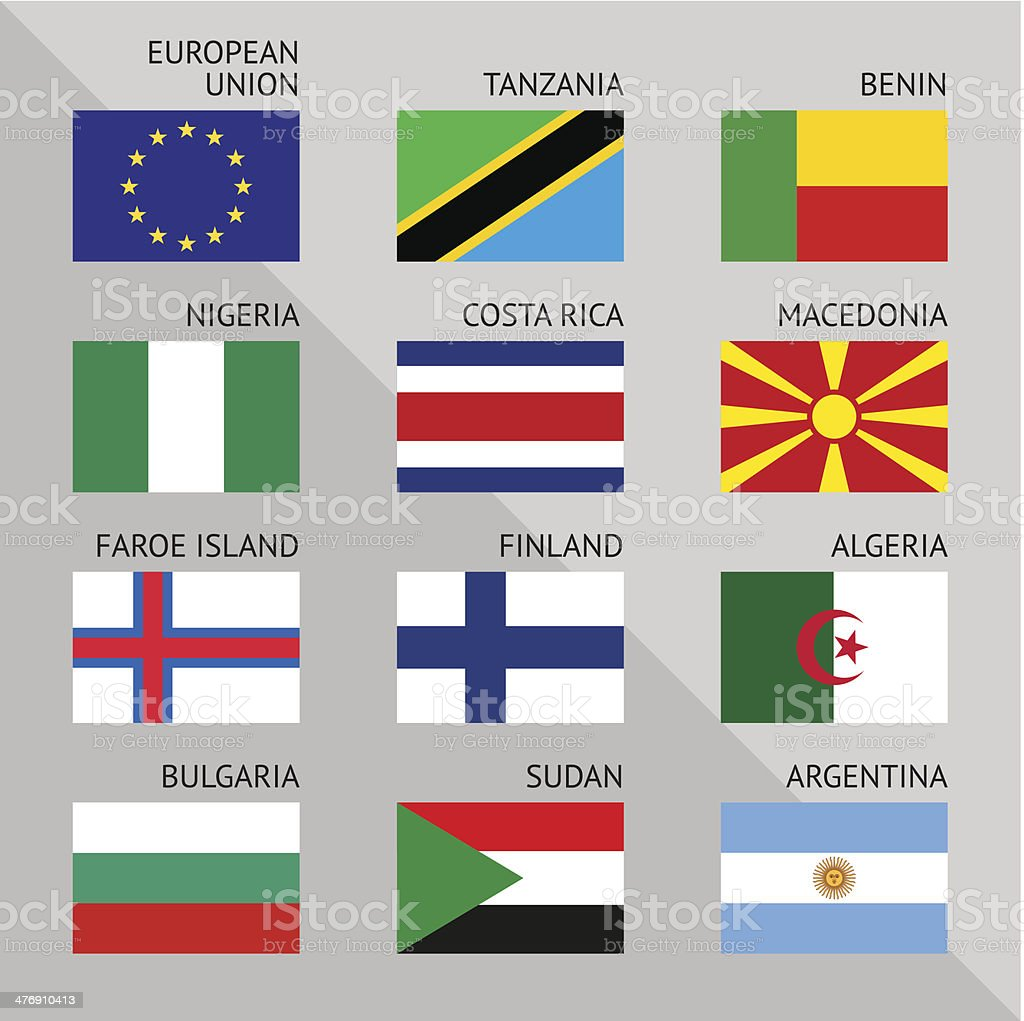 Flags of world, flat. Set number 03 royalty-free stock vector art