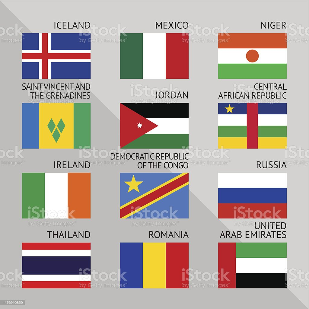 Flags of world, flat. Set number 08 royalty-free stock vector art