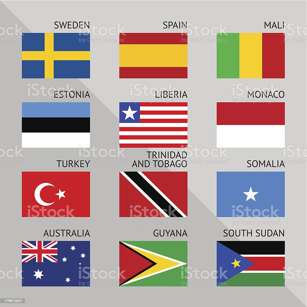 Flags of world, flat. Set number 09 royalty-free stock vector art