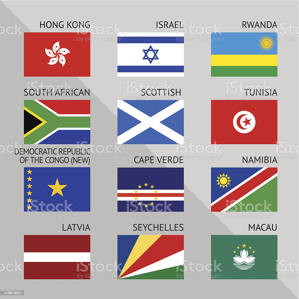Flags of world, flat. Set number 10 royalty-free stock vector art