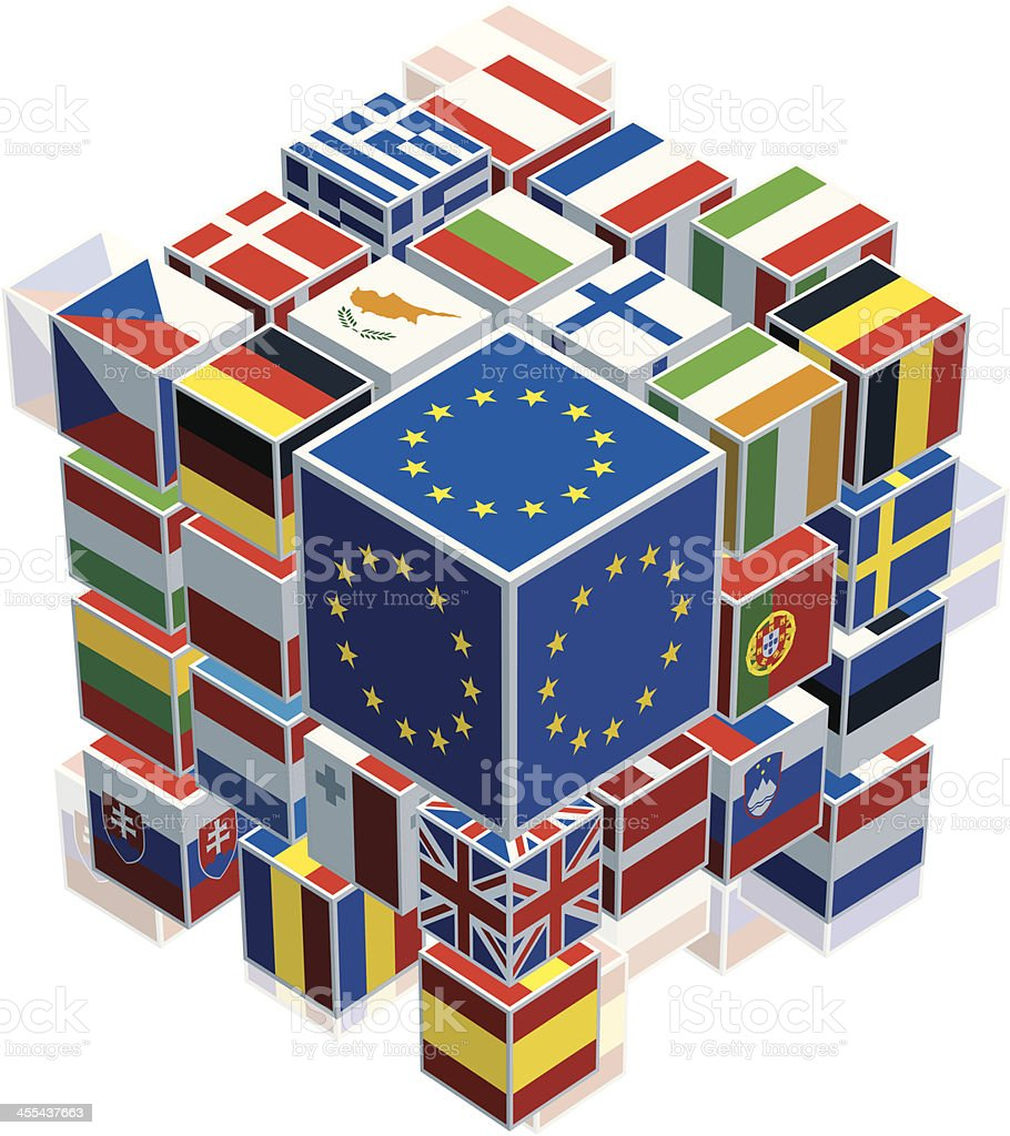Flags on cubes showing the European Union vector art illustration