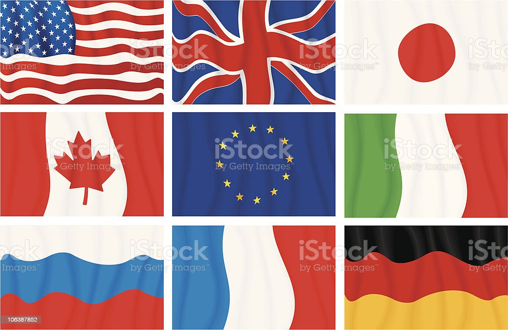 G8 flags royalty-free stock vector art