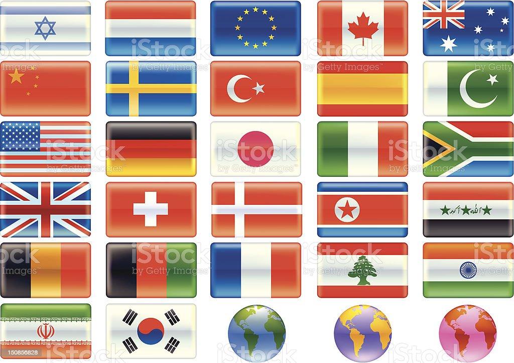 flags (1 of 6 Aqua style) royalty-free stock vector art