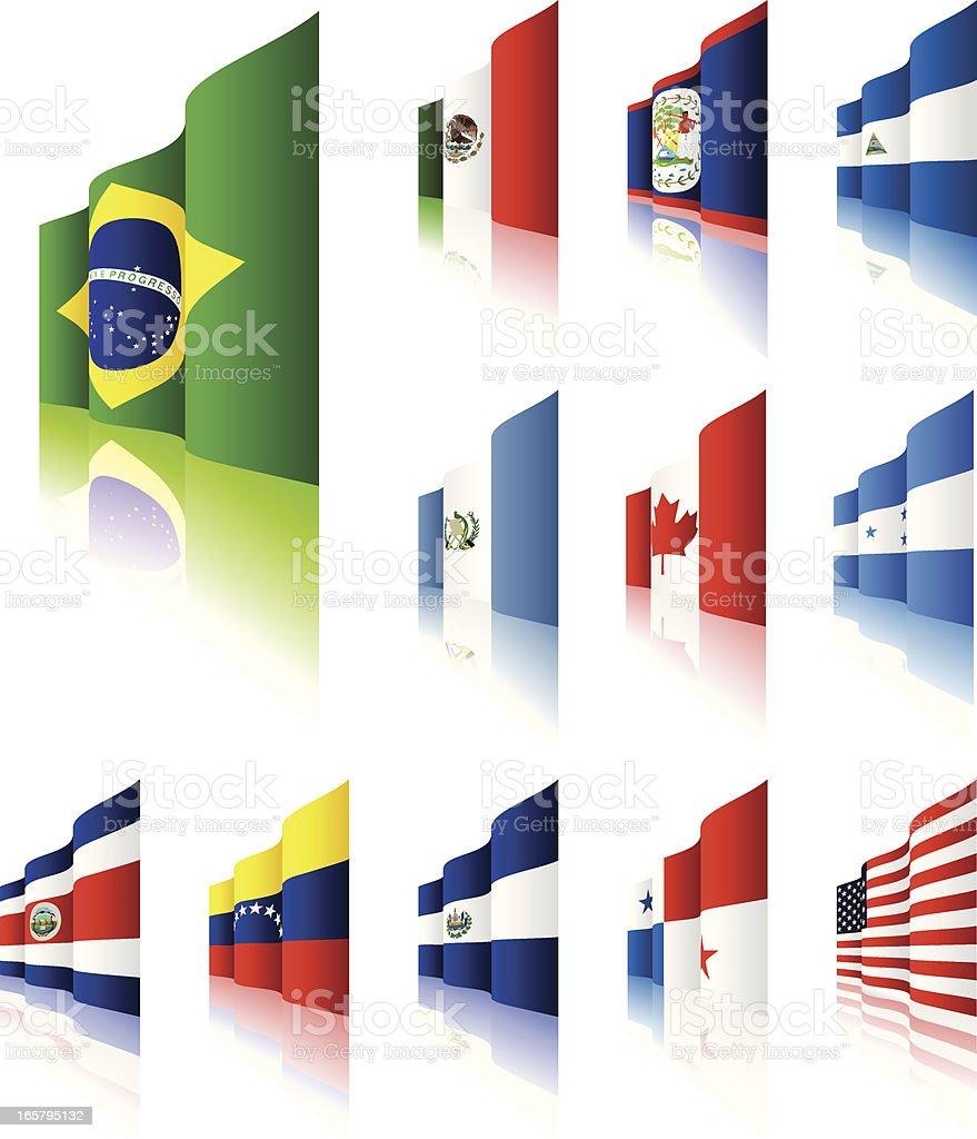 3D Flags vector art illustration