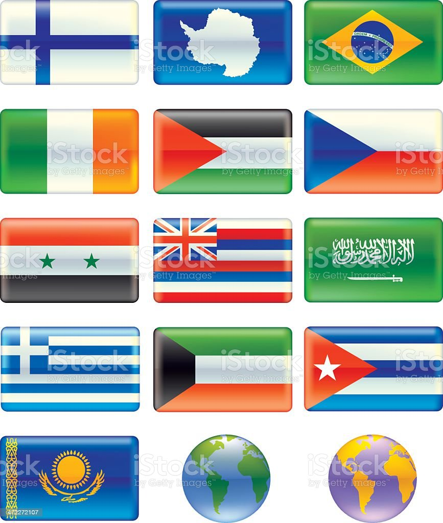 Flags (2 of 6 Aqua style) royalty-free stock vector art