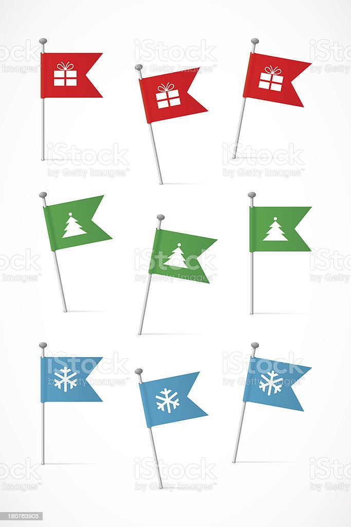 Flags with Christmas symbols royalty-free stock vector art