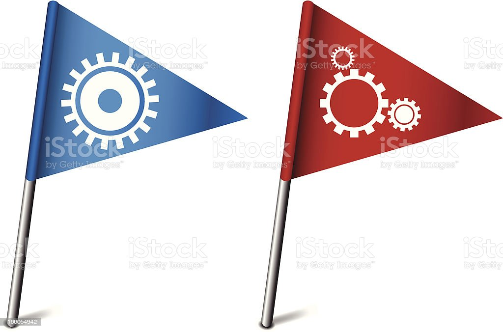 Flags with Gears royalty-free stock vector art