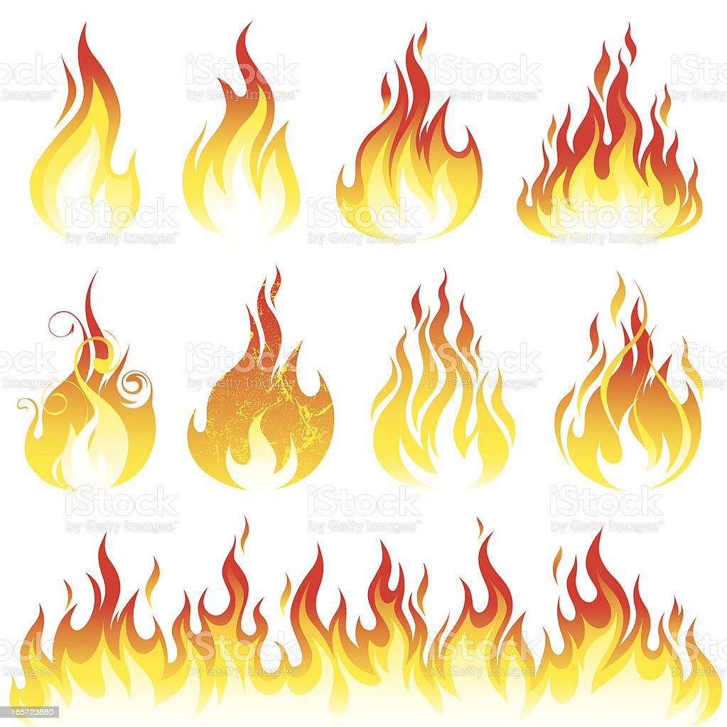Flame collection vector art illustration