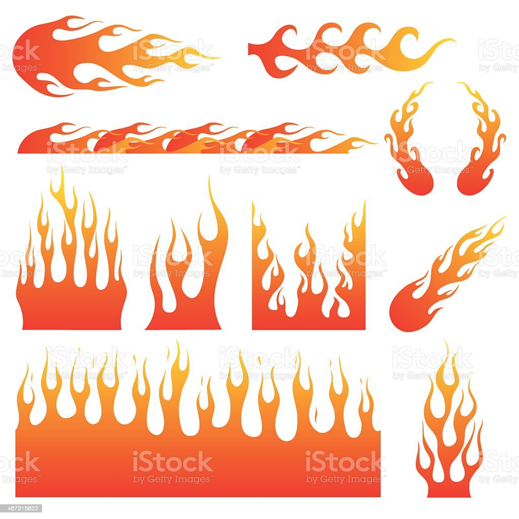 Flame Decals vector art illustration