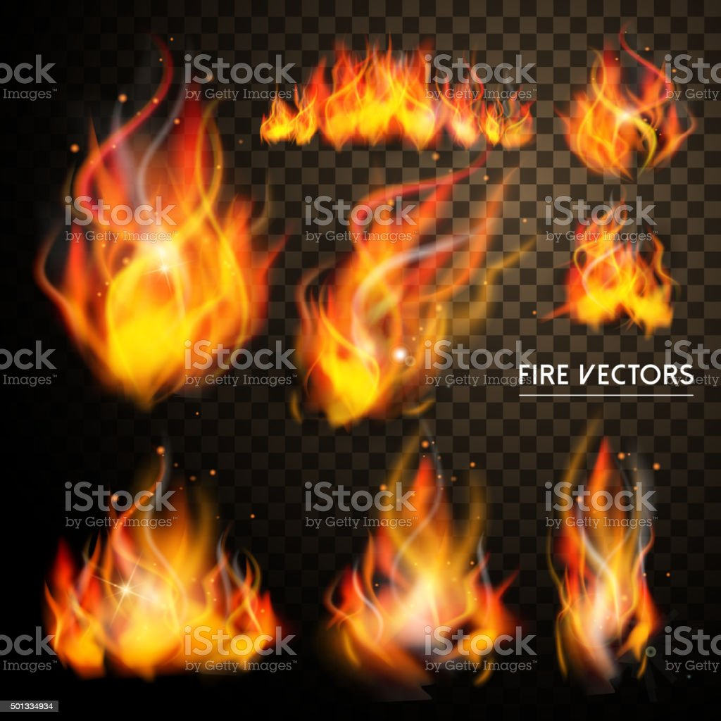 flame elements collection vector art illustration