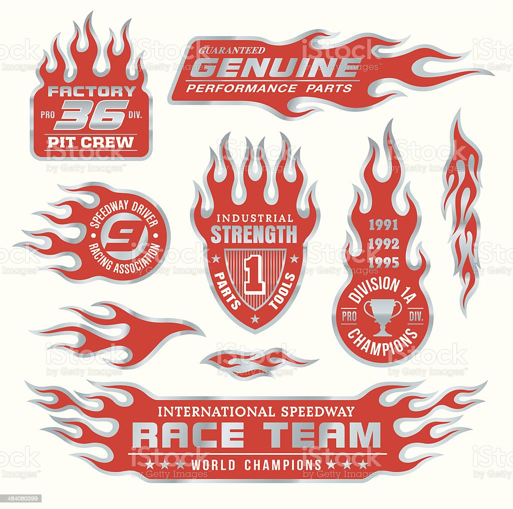Flame emblem set vector art illustration