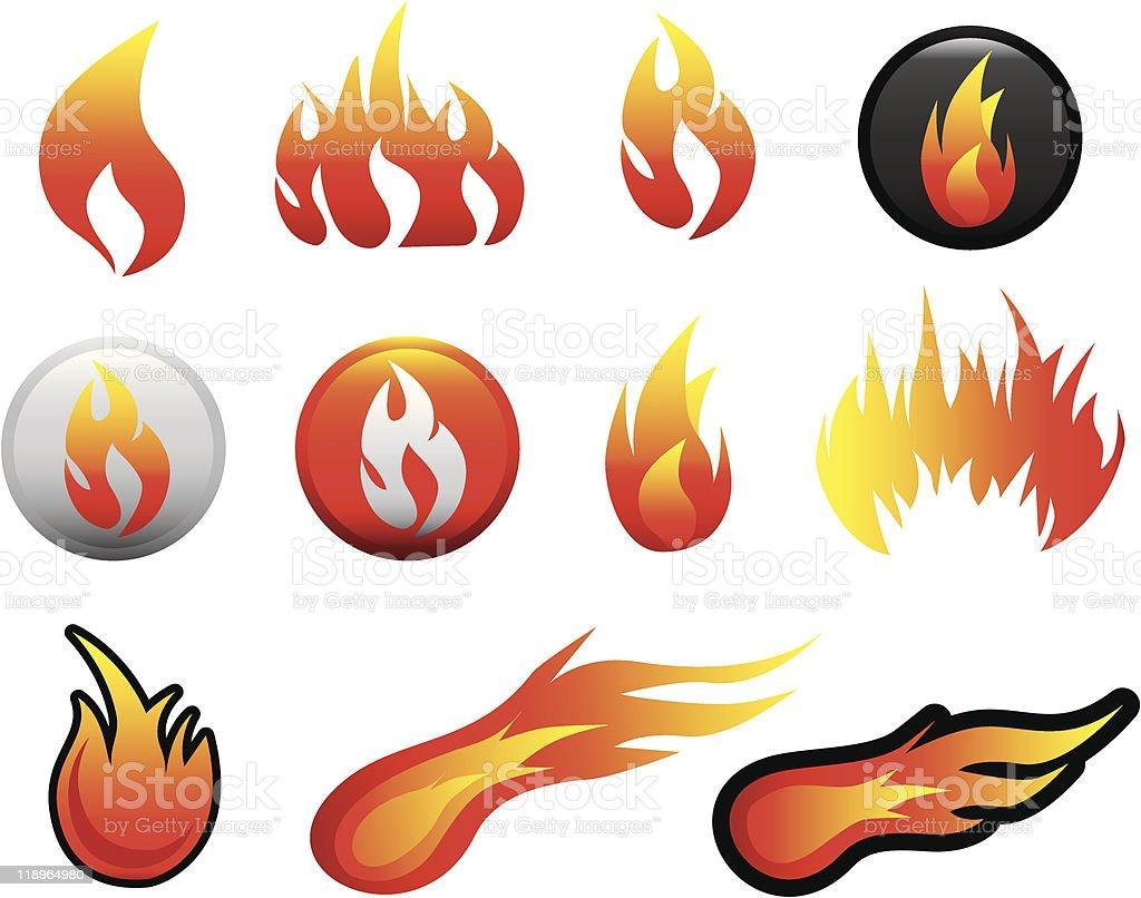 Flamme Symbol set Lizenzfreies vektor illustration