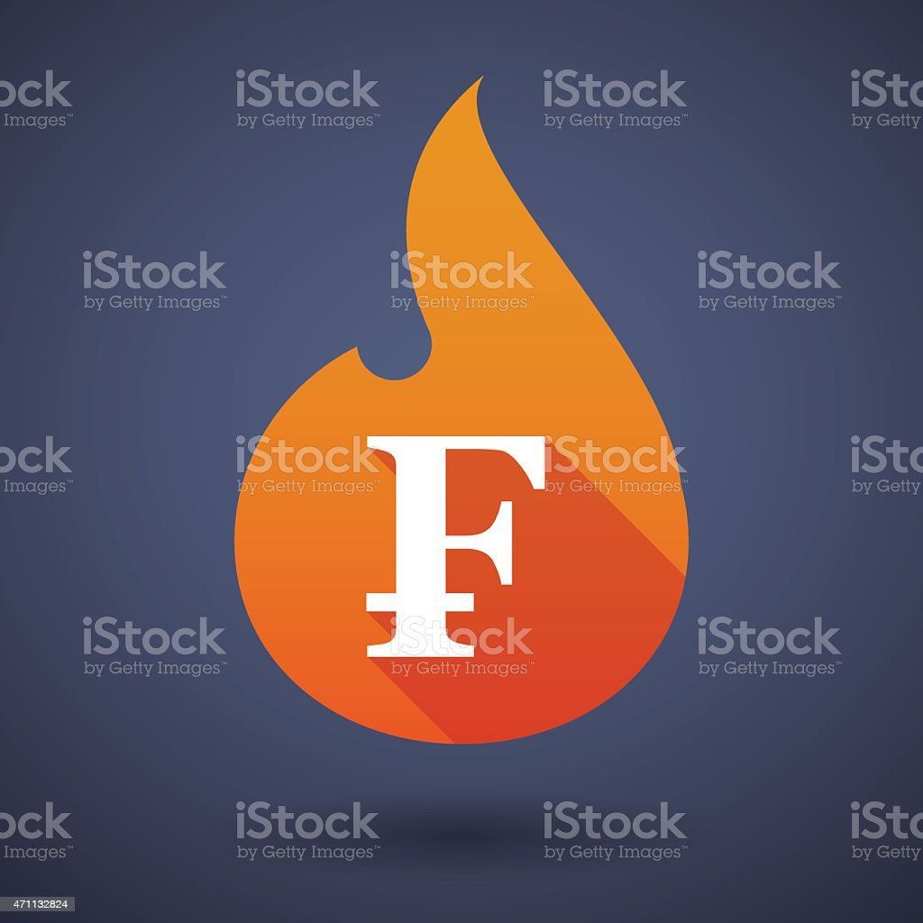 Flame icon with a currency sign vector art illustration