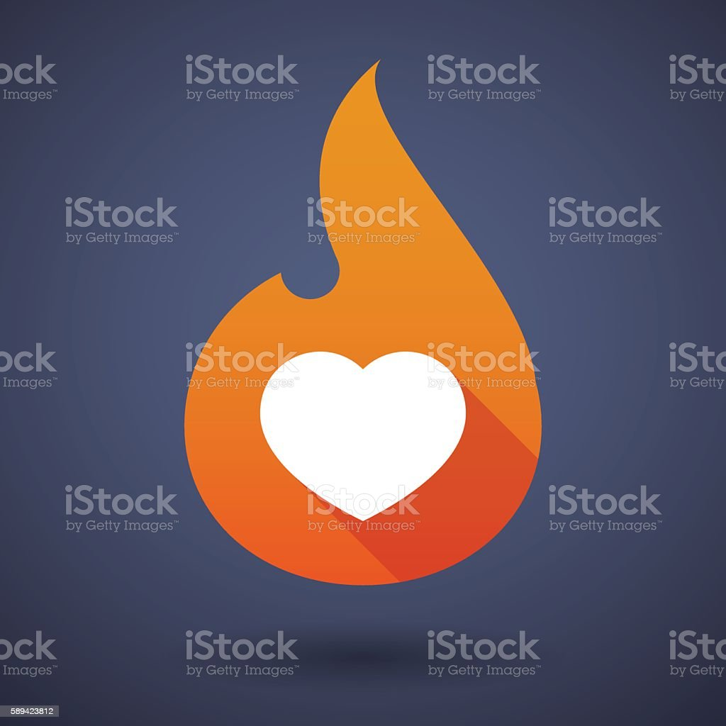 Flame icon with a heart vector art illustration