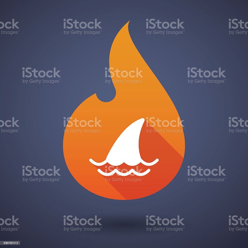 Flame icon with a shark fin vector art illustration