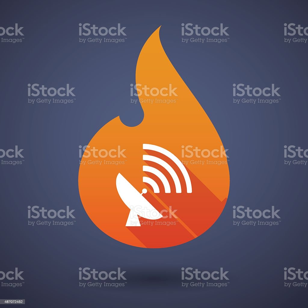 Flame icon with an antenna vector art illustration