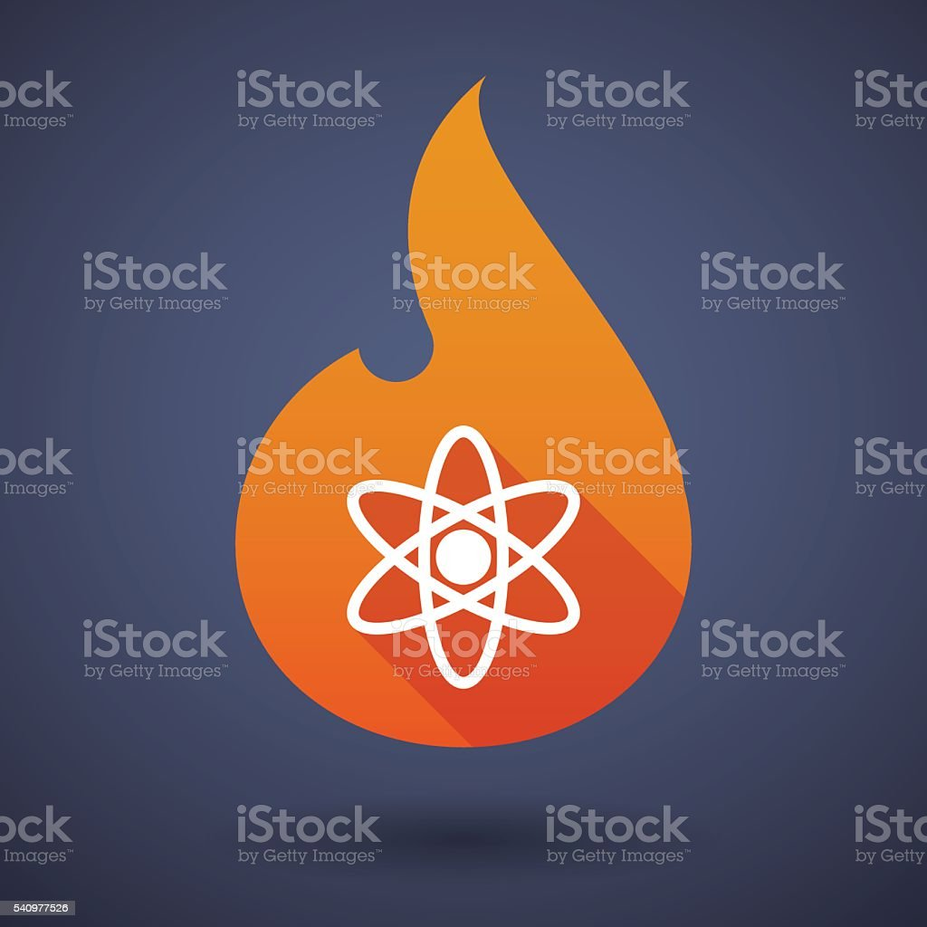 Flame icon with an atom vector art illustration