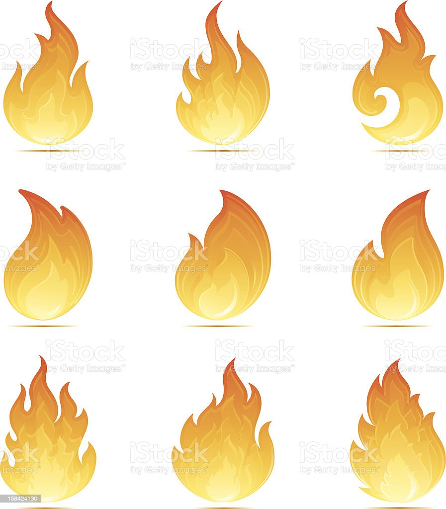 Flame Icons vector art illustration