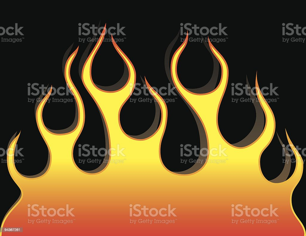 flame on the black background vector art illustration