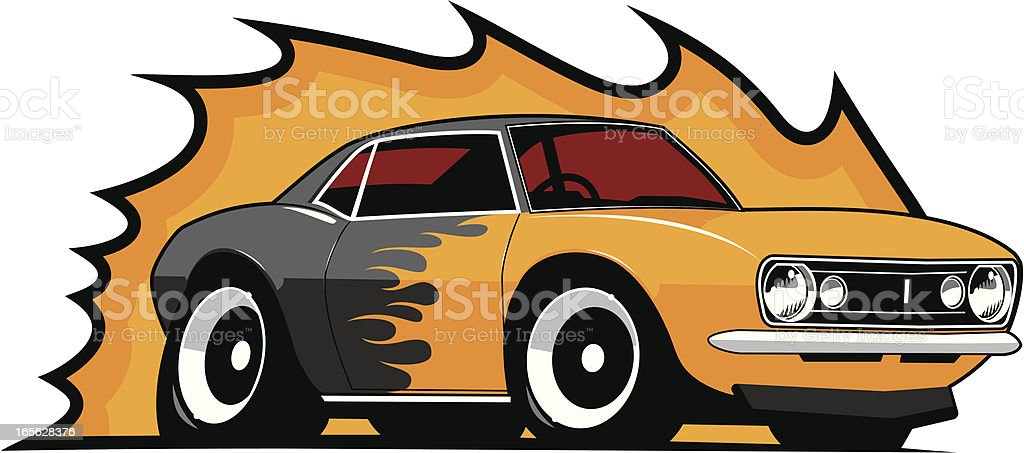 Flame Paint Muscle Car 1967 vector art illustration