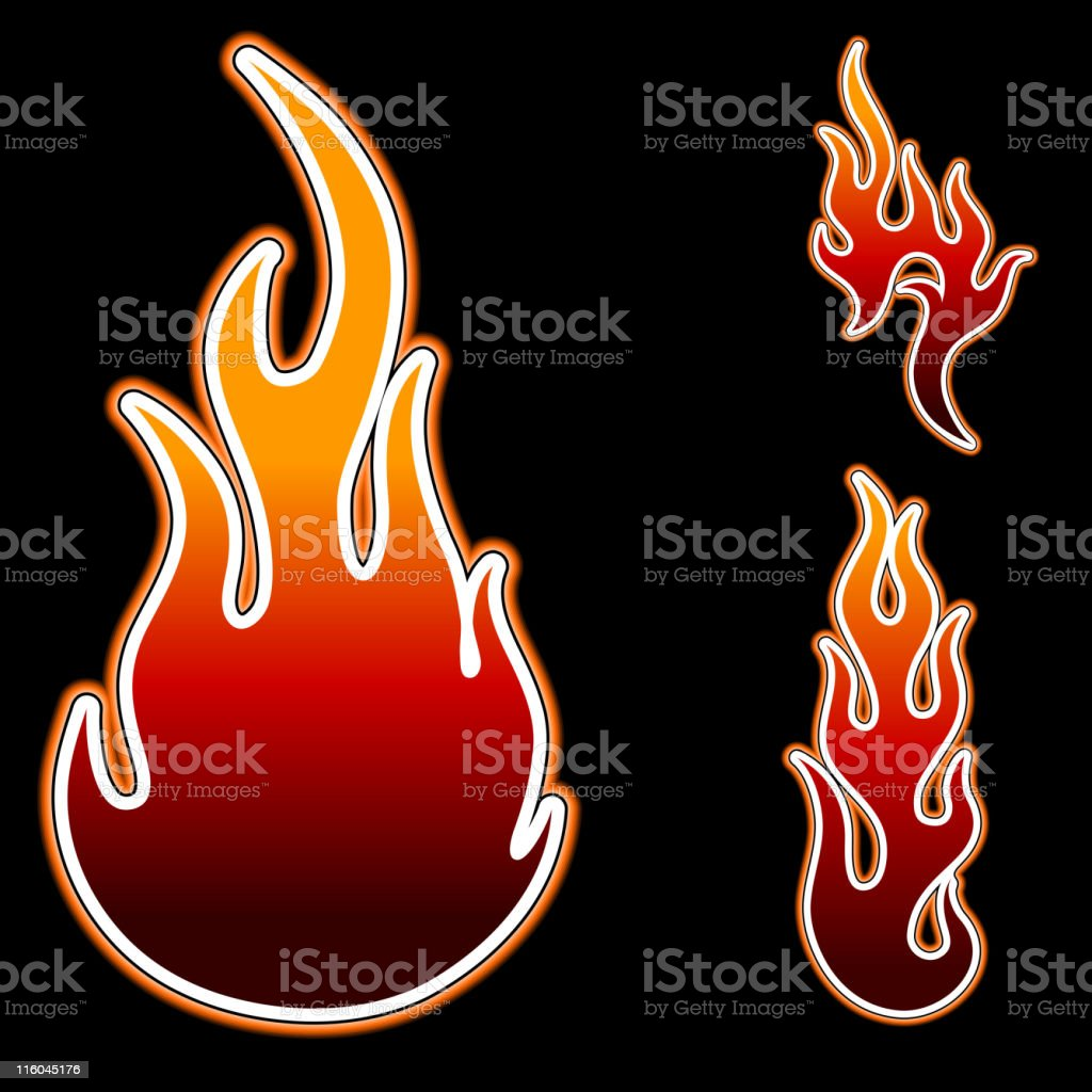 Flame tattoo design with glowing edges royalty-free stock vector art