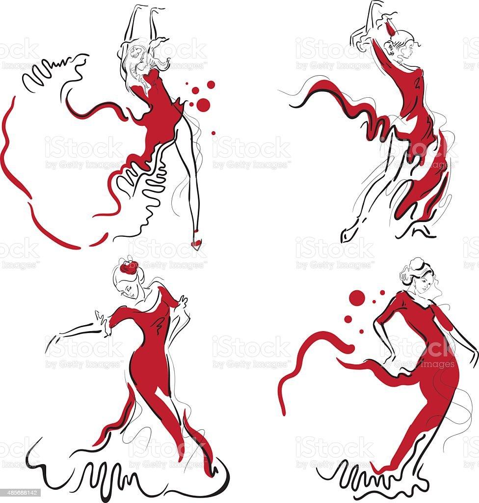 Flamenco dance vector sketches. vector art illustration