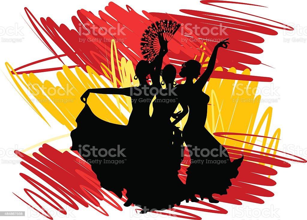 Flamenco dancer over Spanish Flag Background vector art illustration