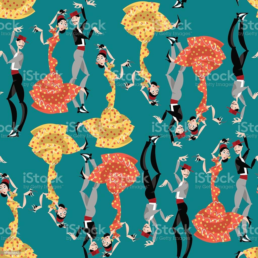 Flamenco dancers. Seamless background pattern. vector art illustration