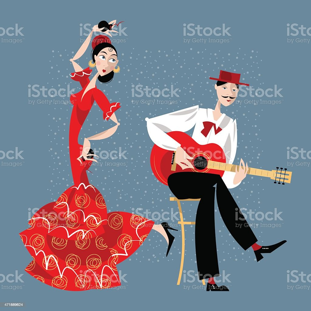 Flamenco. Dancing girl and guitarist vector art illustration