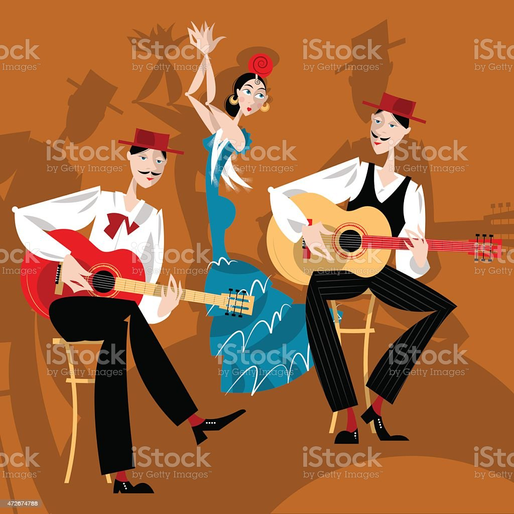 Flamenco. Dancing girl and two men playing a guitar. vector art illustration