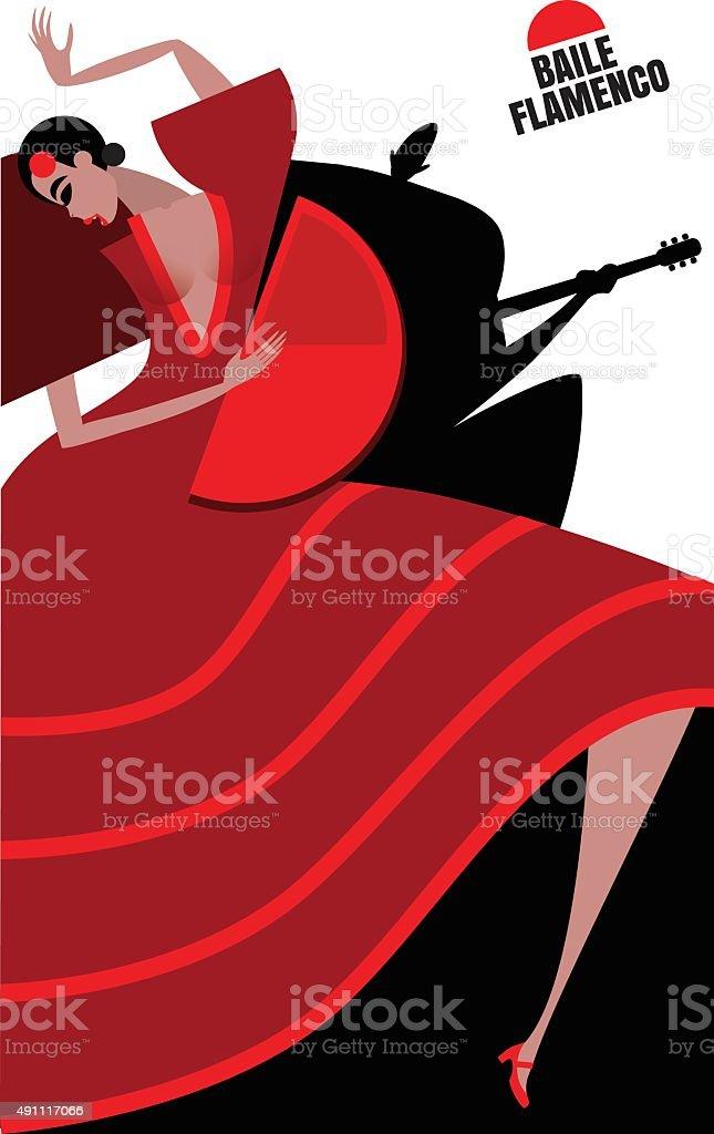 Flamenco vector art illustration
