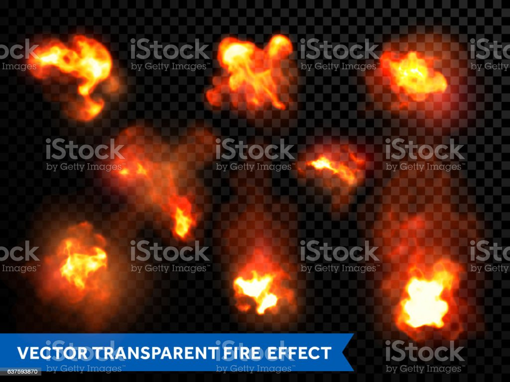 Flames fire burning explosion bursts transparent vector vector art illustration