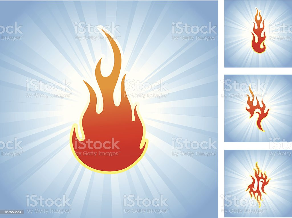 Flames on glowing blue Background royalty-free stock vector art