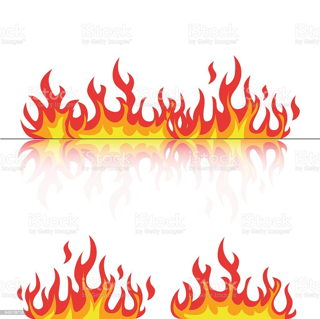 flames set with reflection on white vector vector art illustration
