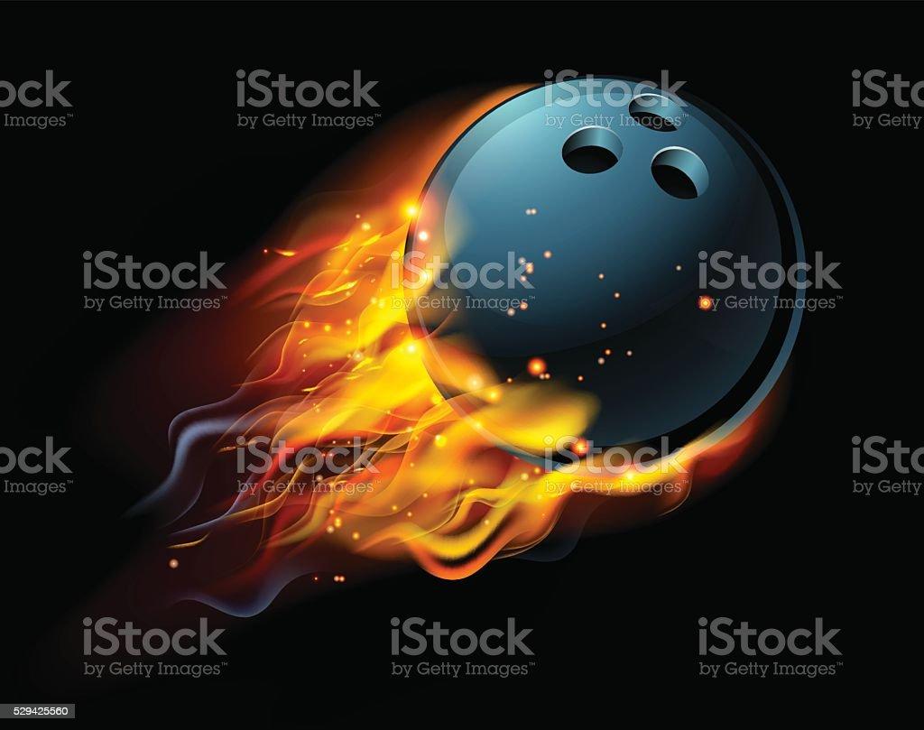 Flaming Bowling Ball vector art illustration