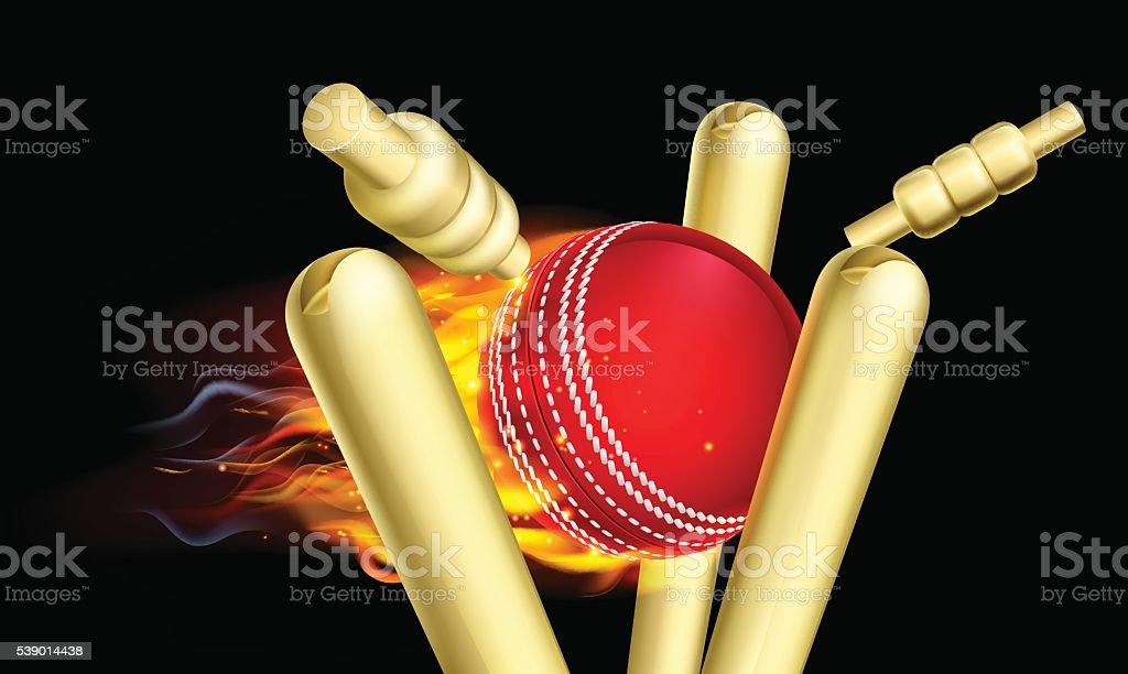 Flaming Cricket Ball Hitting Wicket Stumps vector art illustration