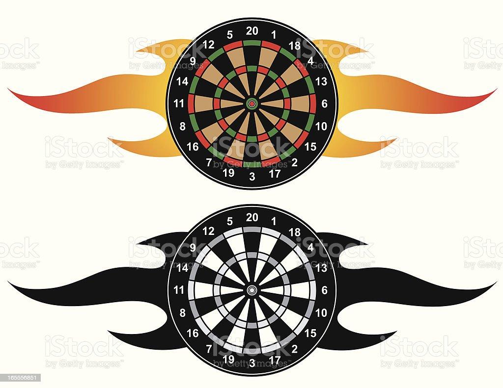 Flaming Dartboard royalty-free stock vector art