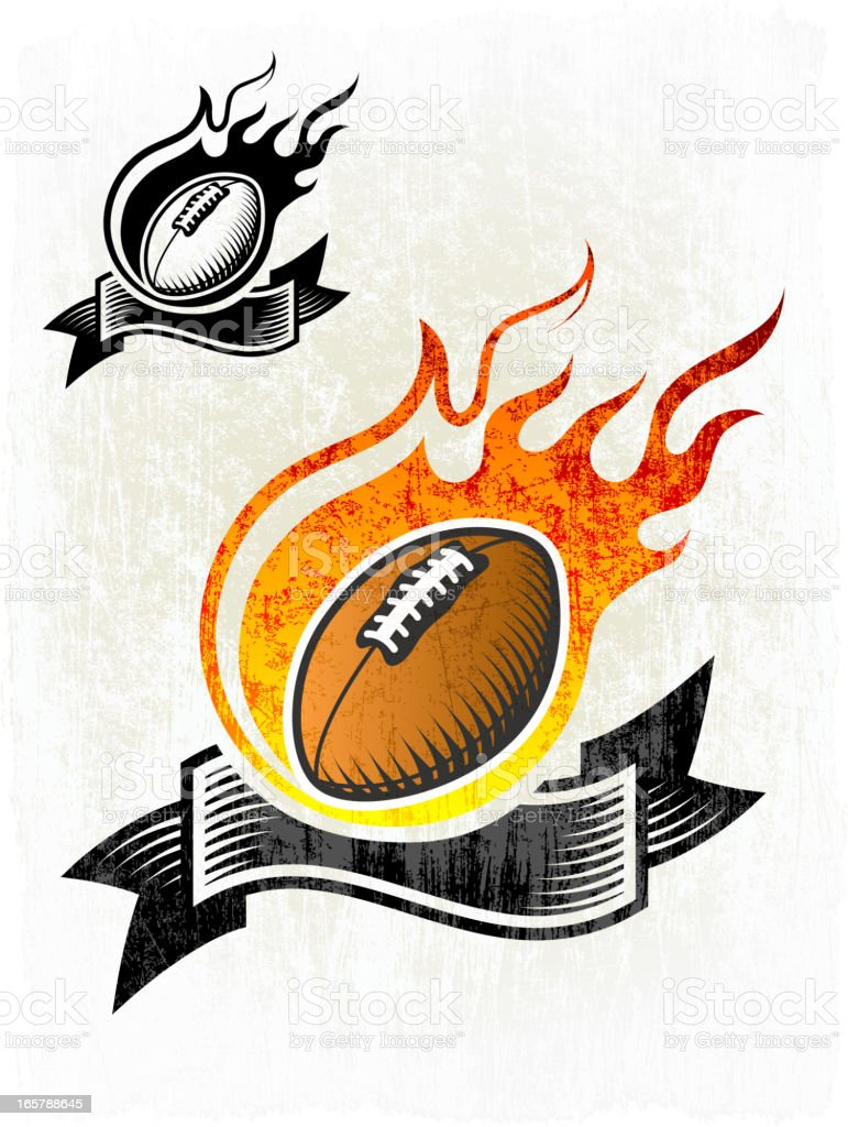 Flaming Football Ball on Grunge badges with banners vector art illustration