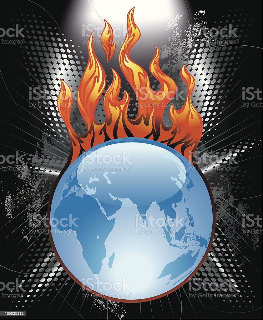 Flaming Globe World Map Sphere Vector vector art illustration