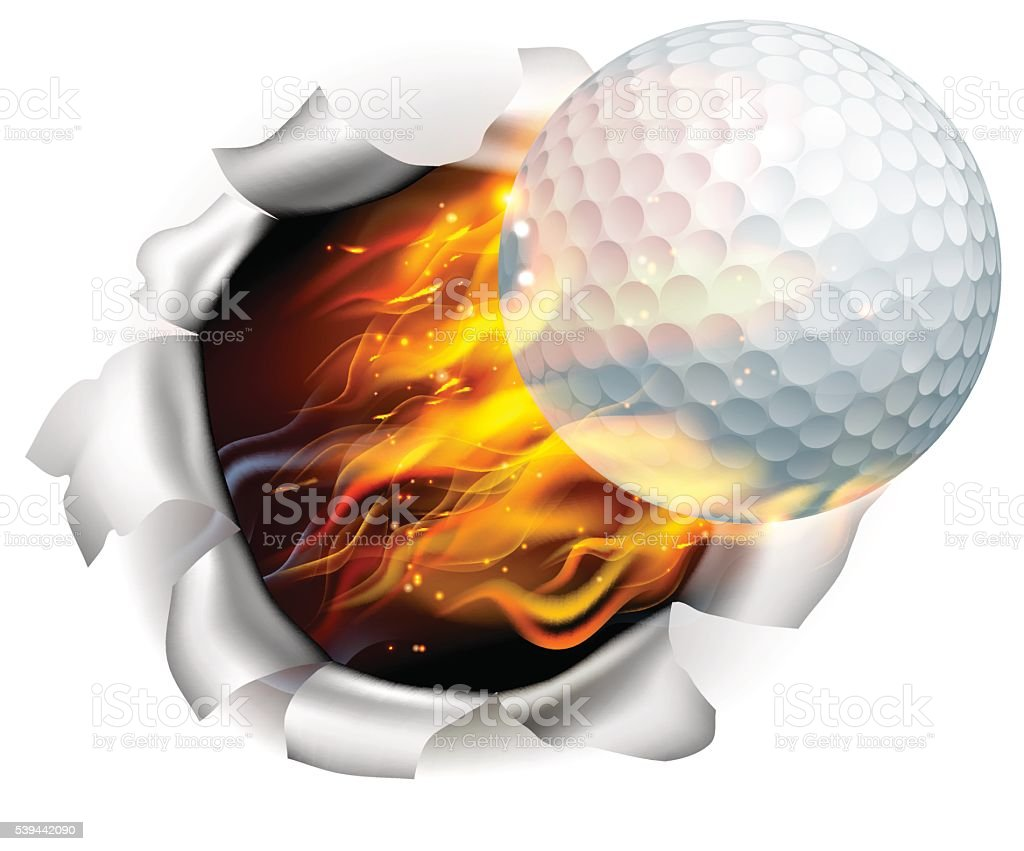 Flaming Golf Ball Tearing a Hole in the Background vector art illustration