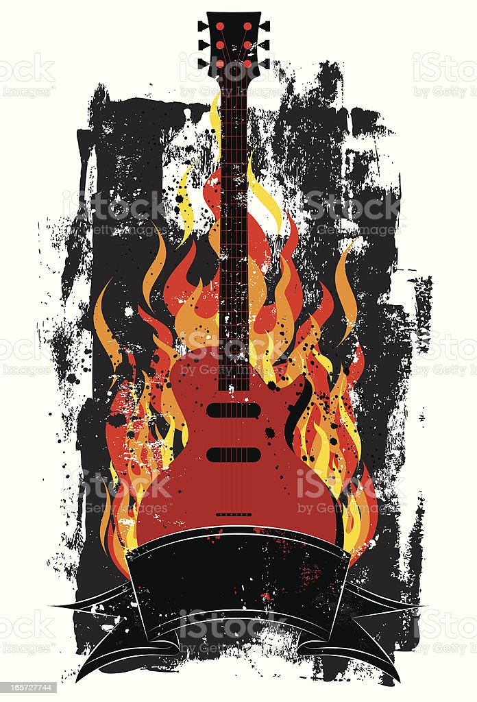 flaming guitar royalty-free stock vector art