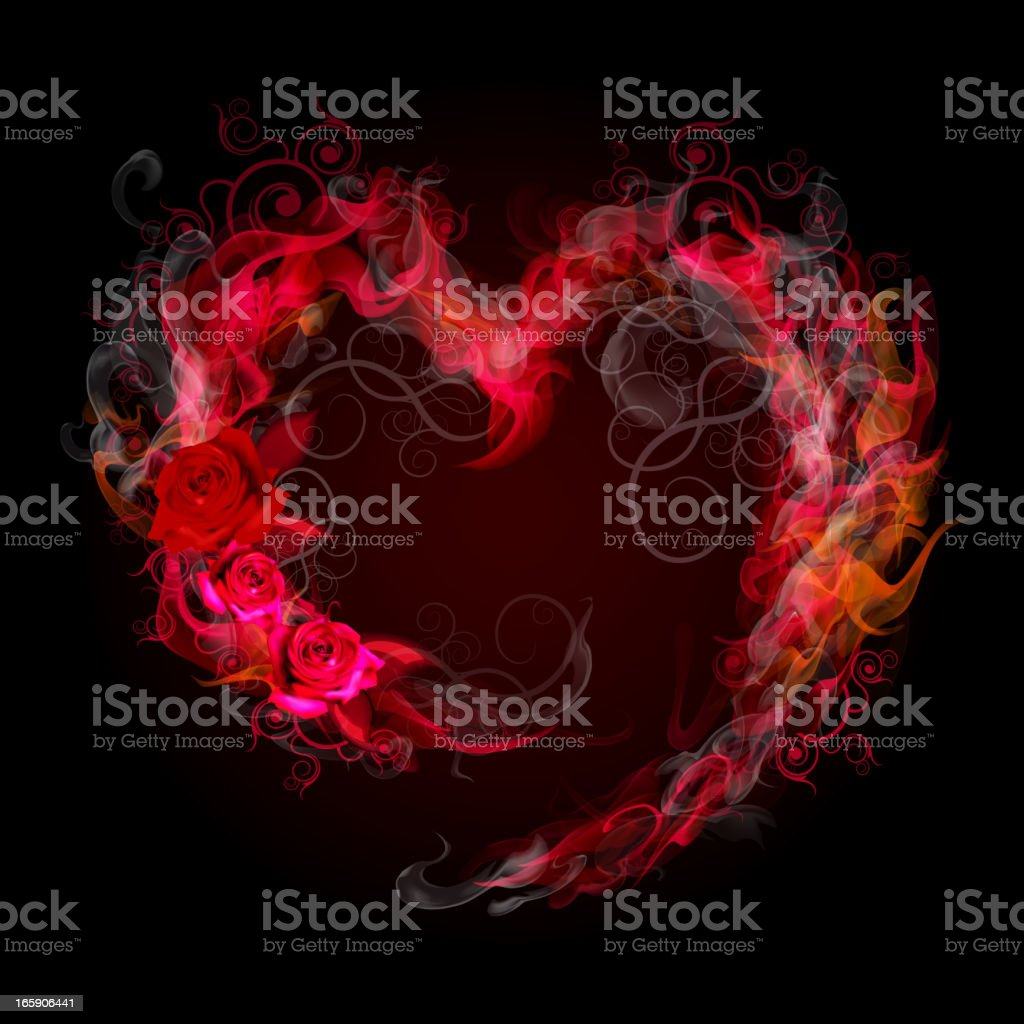 Flaming heart frame royalty-free stock vector art