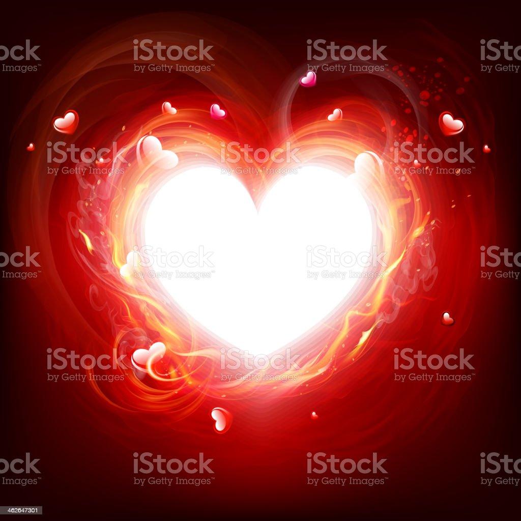 Flaming heart frame vector art illustration