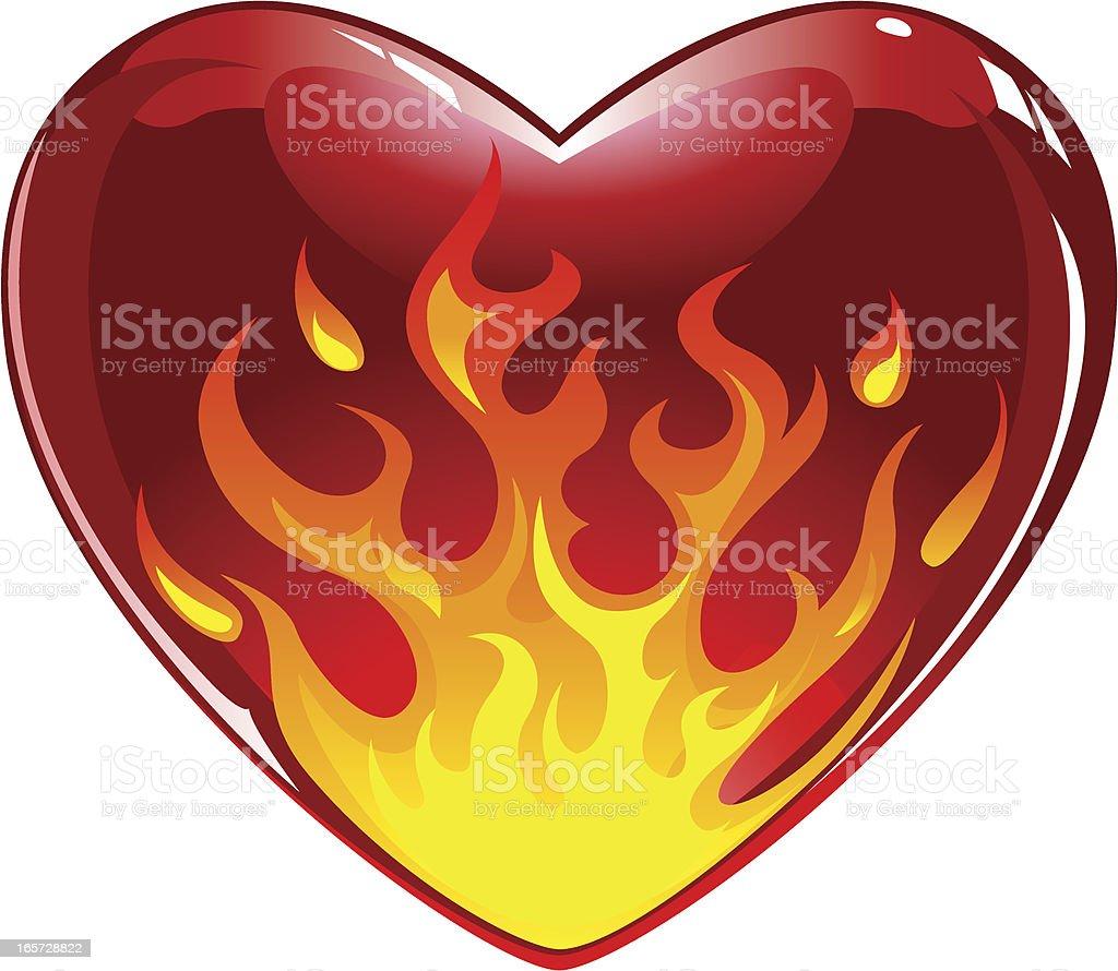 Flaming heart vector art illustration