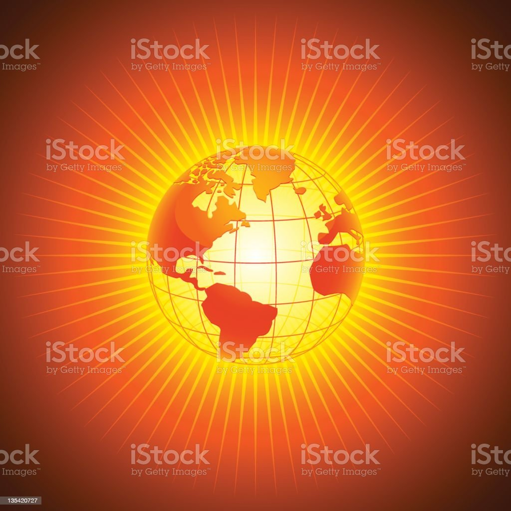 Flaming Hot Planet Earth royalty-free stock vector art