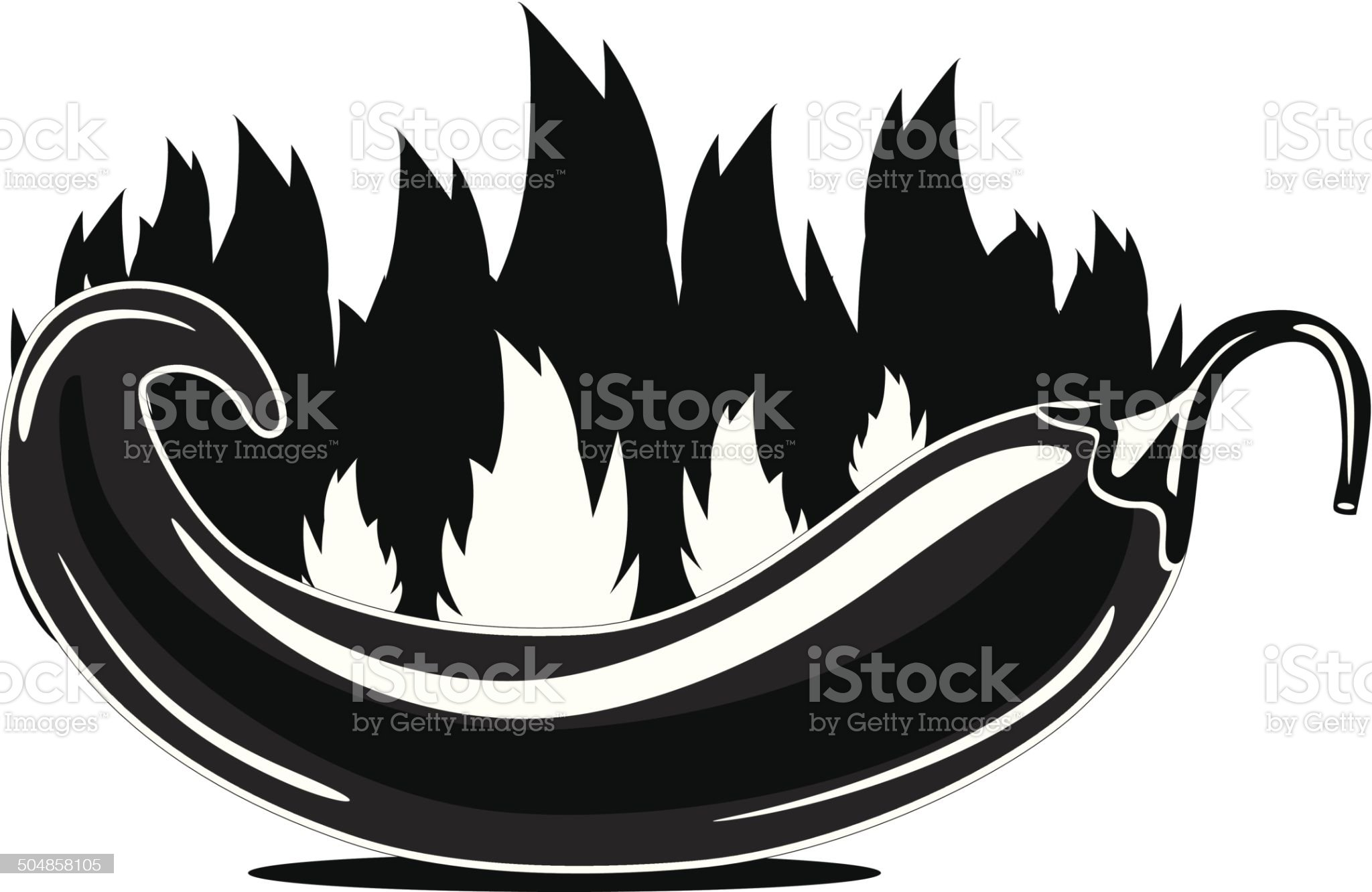 Flaming jalape?o icon royalty-free stock vector art